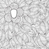 Vector hand drawn seamless pattern with leaf and flower