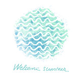 Vector watercolor hand drawn background with sea waves