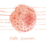 Vector hand drawn watercolor floral summer background
