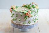 Cake with cream roses.