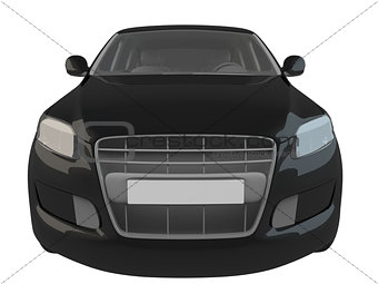 3D rendering black car isolated on white background