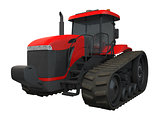 3D rendering red tractor