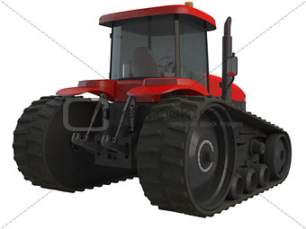 3D rendering red tractor