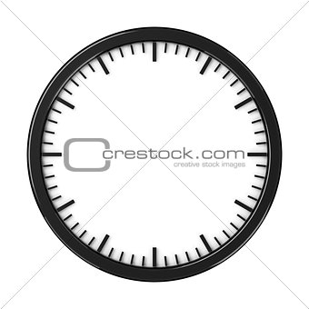 Black empty clock without arrows