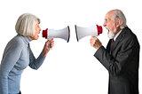 senior man and woman arguing