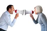 man and senior woman arguing