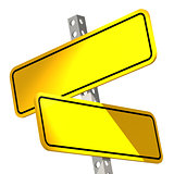 Yellow two road sign isolated