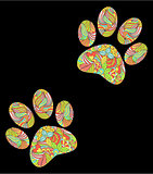animal paw print on black background