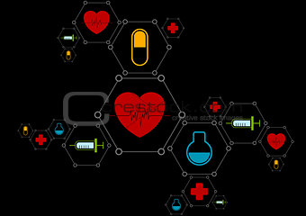 Abstract health vector background with medical icons