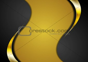 Bright corporate golden and black wavy background