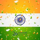 Bright confetti on Indian flag background