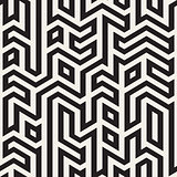 Vector Seamless Black And White Maze Lines Geometric Irregular Pattern