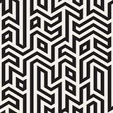 Vector Seamless Black And White Maze Lines Geometric Irregular Pattern
