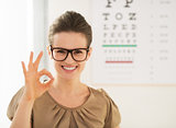 woman wearing eyeglasses showing ok gesture near Snellen chart