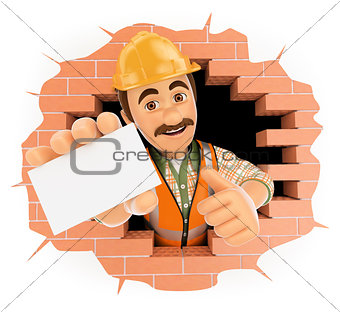 3D Worker coming out a wall hole with a blank card