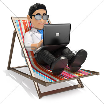 3D Businessman working in the beach with his laptop