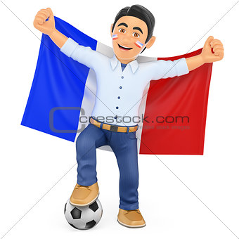 3D Football fan with the flag of France