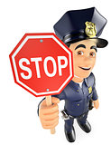 3D Policeman with a stop sign