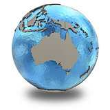 Australia on model of planet Earth
