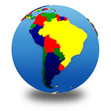 South America on political model of Earth