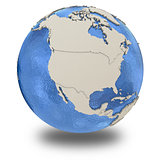 North America on model of planet Earth