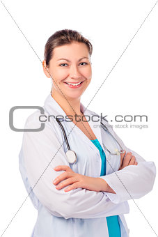 beautiful woman doctor isolated on white background