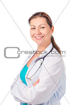Smiling beautiful nurse posing in studio