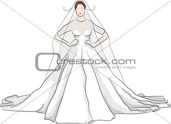 sketch magnificent wedding dress with red lips