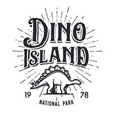 Vector dinosaur island logo concept. Stegosaurus national park insignia design. Jurassic period illustration. Dino Vintage T-shirt badge on white background