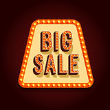 Big Sale Banner With Light Bulbs.