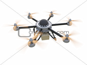 Gray hexacopter. Shipping to home. Flying courier. 3d illustration.