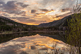 sunset lake reflection calm water