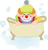Adorable clown taking a bath