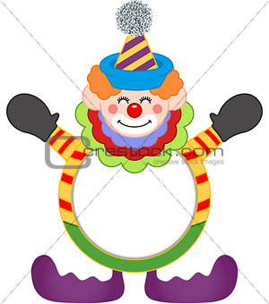 Adorable happy clown frame