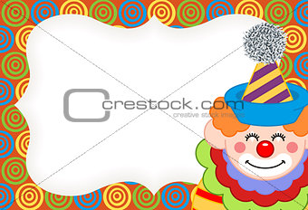 Adorable happy clown label