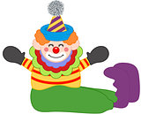 Adorable happy clown sitting