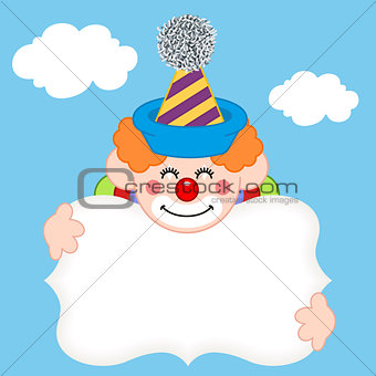 Background with clown and label