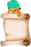 Cute dog holding a parchment