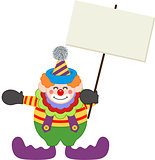 Happy clown holding blank signboard
