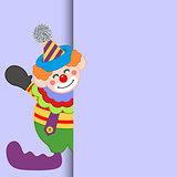 Happy clown peeking out
