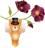 Teddy bear flying with flower