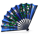 blue fan with pink flowers