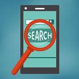 Smart phone with search engine icon.