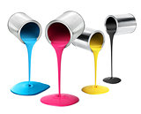 Metal tin cans pouring cmyk color paint