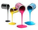 Metal tin cans pouring cmyk color paint