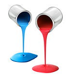 Metal tin cans pouring red and blue paint