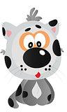 Little playful cute cheerful grey catty cartoon vector illustration