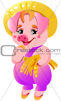 Small cute pink little cartoon vector laughing pigs illustrations