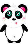 small fun cute color cheerful cartoon panda vector