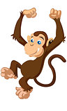 Little cute funny cartoon brown monkey vector